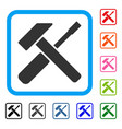 hammer screwdriver framed icon vector image