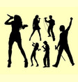 male and female singing silhouette vector image