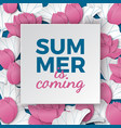 summer is coming banner with lotus flowers vector image