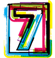 Colorful Grunge Font NUMBER 7 vector image vector image