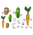 Cartoon vegetable characters vector image vector image