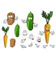 Cartoon vegetable characters vector image