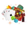 Casino Poster Roulette Card Dice Money Croupier vector image