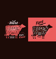 meat cut charts food butcher shop beef concept vector image