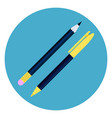pen and pencil icon round blue background writing vector image