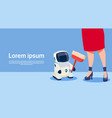 woman with modern robot cleaner futuristic vector image