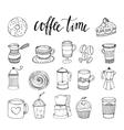 Coffee Hand Drawn Monochrome Elements Set vector image