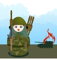 Nested doll with a grenade launcher vector image
