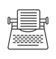 vintage typewriter linear icon vector image