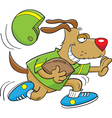 Cartoon Dog Playing Football vector image