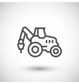 Industrial tractor line icon vector image