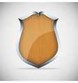 Shield with wood texture vector image