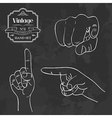 Vintage chalkboard finger pointing vector image