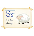 A letter S for sheep vector image