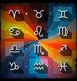 Zodiac - Horoscope Square Icons Set on Grunge vector image