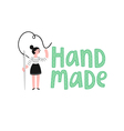 Handmade logo with a girl vector image