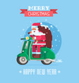 christmas card with santa on scooter vector image