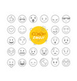 different thin line emoji collection icon set vector image