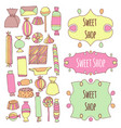 hand drawn candy set vector image