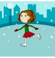 Happy cute girl riding on ice skates vector image