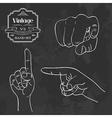 Vintage chalkboard finger pointing vector image