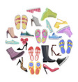 collection of shoes in round frame banner isolated vector image