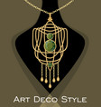 luxurious art deco pendant with green gems emerald vector image vector image