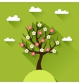 Background with spring tree in flat design style vector image