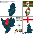 Nottinghamshire East Midlands vector image
