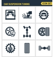 Icons set premium quality of car suspension tuning vector image