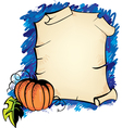 Halloween background with parchmentt and pumpkin vector image