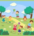 kids children playing in yard garden park vector image