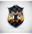 Shield with checkered flags vector image