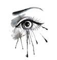 watercolor female eye on grunge background with vector image