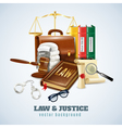 Law And Order Composition Background Poster vector image