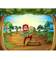 A cheerful lumberjack in the middle of the trees vector image