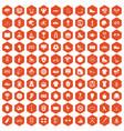 100 sport team icons hexagon orange vector image