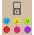 Portable musical player with color variations vector image