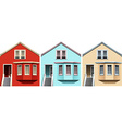 Wooden houses in different colors vector image