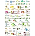 Set of speech bubble icons overlapping shapes vector image