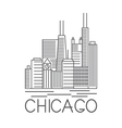 Chicago Illinois USA skyline line art vector image
