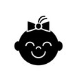 happy girl face icon black vector image