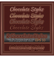 Set Of Various Chocolate Graphic Styles for Design vector image