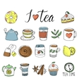 Tea Hand Drawn Elements Set vector image