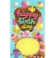 Happy Birthday card with cake balloon cupcakes vector image