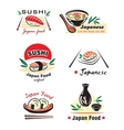 Japanese sushi seafood emblem or logo designs set vector image