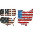 USA state of Ohio on a brick wall vector image
