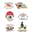 Japanese sushi seafood emblem or logo designs set vector image