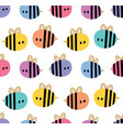 seamless pattern with cartoon bees for design vector image