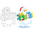 Snowman with Christmas gifts vector image